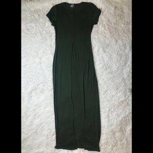 Olive Green Short Sleeve Slit Front Maxi Top